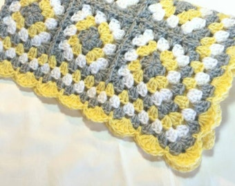 Crochet Baby Blanket  Granny Square Baby Blanket Gray Grey Yellow Crib Stroller Blanket Baby Shower Gift Baby Photo Prop