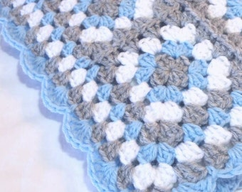 Granny Square Baby Blanket Blue and Gray Crochet Stroller Car Seat Crib Afghan Handmade Homecoming Shower Gift Photo Prop