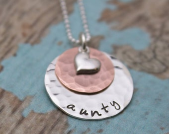 Sterling Silver and Copper Layered Necklace with Heart Charm Grandmother or Mother Necklace Personalized Hand Stamped Jewelry