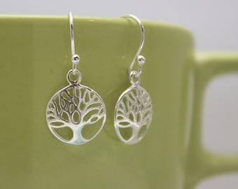 Tree of Life Charm Earrings, Family Tree Earrings, Sterling Silver Earrings, Tree Earrings