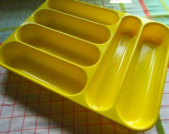Bright Sunshine Yellow Vintage Cutlery Tray - Crown Corning Glass Works - Hong Kong