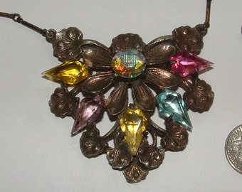 DECO ART NOUVEAU- big flower necklace- 1920s era- all original big bold gorgeous