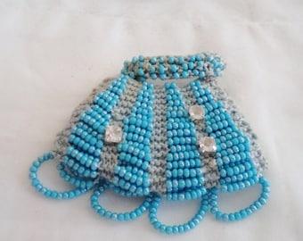 tiny beaded purse, purse brooch, beaded bag brooch, blue bag brooch, blue bead brooch, turquoise brooch, tiny bag brooch