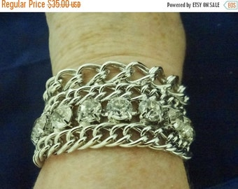 "20% off sale AWESOME Vintage signed 7.5"" silver tone bracelet with gorgeous chunky .25"" clear rhinestones in great condition, appears unworn"