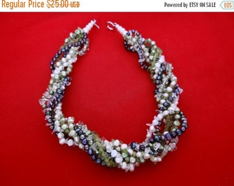 20% off sale Vintage 7 strand necklace of pearls and semi-precious stones in great condition-toggle clasp signed 925