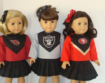 "18"" Doll Clothes/Arizona Cardinals or Oakland Raiders or San Francisco/Cheerleader outfit 18 inch Girl Doll/READY TO SHIP"