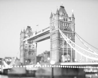 London Black and White Photography -  Evening at Tower Bridge, Twinkle Lights, England Travel Photo, Large Wall Art, Home Decor