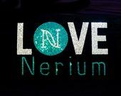 "9"" LOVE Nerium iron on rhinestone transfer applique rhinestone patch"