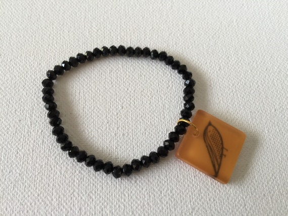 Mod Bird Charm & Black Faceted Agate Bracelet