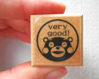 Kumamon Wooden Rubber Stamp - Very Good!