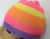 """American Girl Doll Hat, NEON PINK Rainbow Striped Skull Cap for 18"""" Doll"""