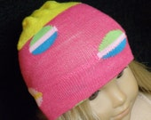 """American Girl Doll Hat, PINK Patterned Skull Cap for 18"""" Doll - Breast Cancer Awareness"""