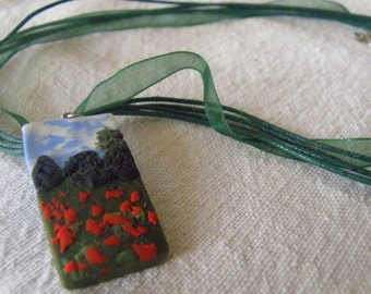 Necklace - One of a Kind, Monet's Poppies in Clay on an Forest Green Ribbon (905)