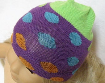"American Girl Doll Hat, PURPLE Polka Dot Skull Cap for 18"" Doll"