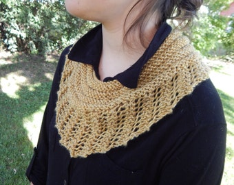 Mustard SWEET SEPTEMBER Hand Knit Lace Triangle Scarf (971)