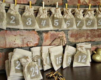 Rustic Christmas Advent Calendar - Natural Calico with Jute Patches and Gold Accents - 24 MINI BAGS Garland