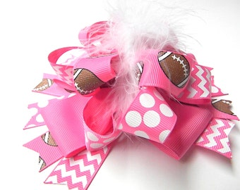 Pink Football Hair Bows - Football bows-Football Hair Clip-Over the top Loop Style Big Bows