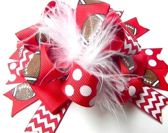 Red Football Hair Bows - Football Bows- Football hair Clip-Over the top Loop Style Big Bows