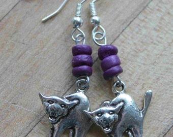 silver cat earring,violet wood beads,Haloween,cat earrings,wood beads,silver cats,halloween cat earrings,movie prop,theater