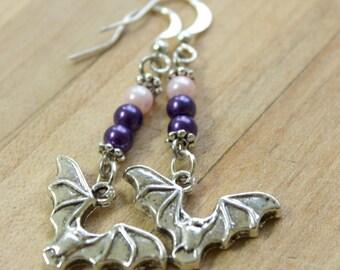 silver bat earrings,purple beads,pink beads,Halloween,Halloween earrings,Bat earrings,Halloween bats,Halloween bat earrings,