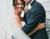 Straight chapel length Wedding Bridal Veil 90 inches white, ivory or diamond