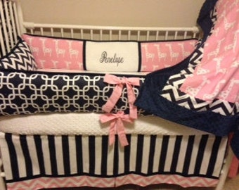 Pink giraffe navy chevron Baby bedding Crib Girl set DEPOSIT Down payment ONLY read details