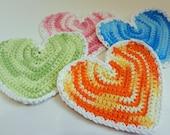 Set of Four Heart Shape Dishcloths or Coasters