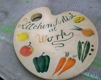 devonware chalkware  kitchen artist at work wall hanging