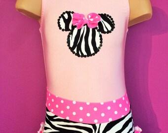 Zebra Print/ Pink Gymnastics Dance Leotard with Minnie Mouse Applique. Toddlers Girls Leotard. Dancewear. Size 2T-Girls 10