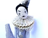 OOAK, edition of only one, Pierrot, clown cloth doll, textile sculpture Limited edition