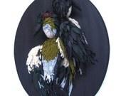Love birds, textile taxidermy, hand made, taxidermy birds OOAK, art piece
