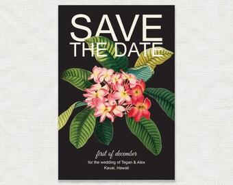 frangipani - tropical floral printable wedding save the date - Hawaiian flowers plumeria beach destination botanical illustration black