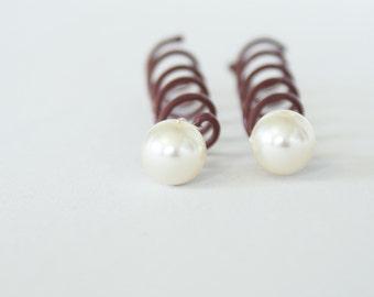 Ivory Pearl Spiral Hairpins. Set of 2. Twist Pins, Spin Pin. Bridal Wedding Hair Accessory. Ivory Bridal Pearl Pin.