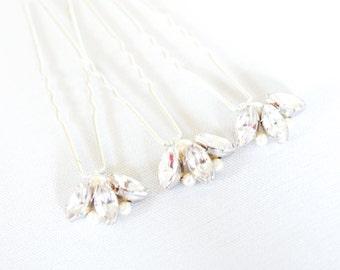Diamante Wedding Hair Pins. Set of 3 Bridal Hair Pins. Rhinestone & Pearl Bridal Hair Clips. Silver Tone Hair Pin. Wedding Hair Accessories.