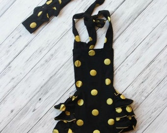 Baby Romper - Black and Gold Romper -1st Birthday Outfit - Baby Sunsuit -Bubble Romper-Ruffle Bottom -Beach Outfit-Photo Prop-Gold Outfit
