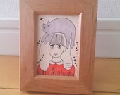 "Original small Art,mini art,small painting,small illustration,""cat and girl"""