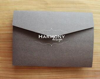 5 x 7 Wood Grain Pocketfold Wedding Invitation, Dark Brown - Set of 8