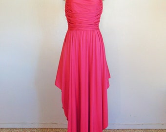 70s pink GRECIAN draped gown size medium