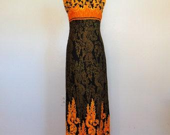 60s Indonesian Thai cotton maxi dress size small