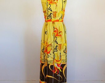 60s Orsini PUCCI PRINT maxi dress gown size medium large