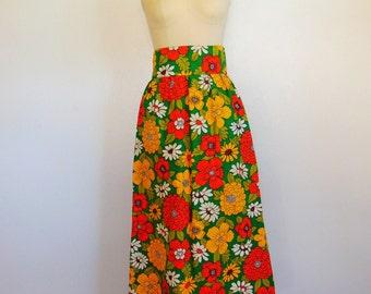 60s super MOD Floral print dirndl skirt midi length size large