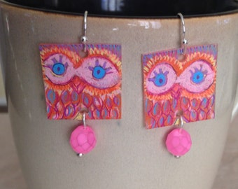 Neon Pink Shrink Plastic Retro Owl Earrings