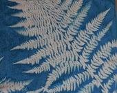 Silk Scarf, Blueprinted with Ferns