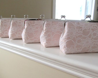 SALE, 20% OFF, Bridal Silk And Lace Clutch Set Of 6,Blush Wedding Clutch,Bridesmaid Clutches,Bridal Accessories