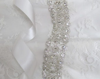 LAST ONE,Silver Crystal Rhinestone Bridal Sash,Wedding sash,Bridal Accessories,Bridal Belt,Style # 14