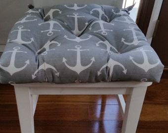 Set of 4 Tufted chair pads, seat cushions, bar stool cushions, grey and white ash slub sailor, anchors cotton fabric