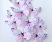 purple edible butterflies - wedding cake decoration - lavender butterflies - cupcake toppers - purple cake topper - Uniqdots on Etsy CODE002