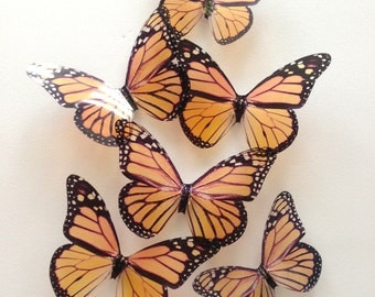 transparent monarch butterfly - orange butterfly - orange monarch butterfly - 3D adhesive butterfly wal butterfly - Uniqdots on Etsy CODEA1