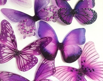 transparent purple butterfly - purple butterfly - pink adhesive butterfly - 3D adhesive butterfly - wal butterfly - Uniqdots on Etsy CODEA1