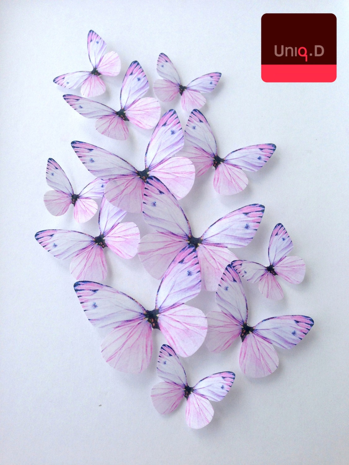 purple edible butterflies wedding cake decoration by uniqdots